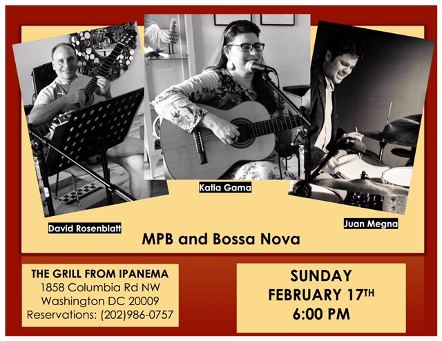 Sunday is Better with Great Food, Drinks & Live Brazilian Music, Feb 17th, 6PM. No Cover Charge