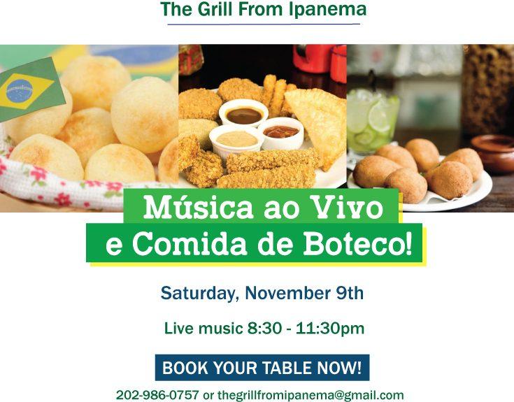Live Music & Comida de Boteco Nov 9th 8:30pm-11:30pm