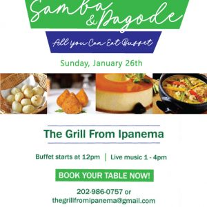 Live Samba, Pagode & All You Can Eat Brunch Buffet Jan 27th, 2020